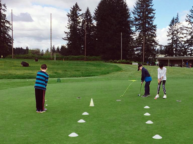Junior Golfers Practicing in a Washington Youth Golf Academy at Camas Meadows Clinic